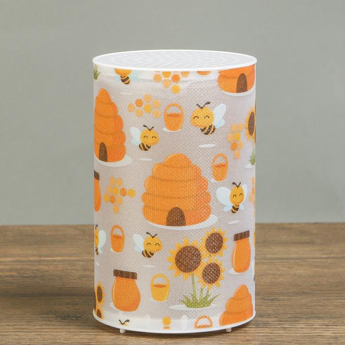 "Ночник пластик ""Медовые пчёлы"" от батареек CR2032х1 7,1х7,1х11,3 см"