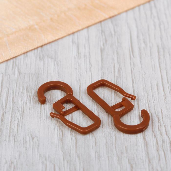 Крючок для штор, на кольцо, 30 ? 13 мм, цвет коричневый