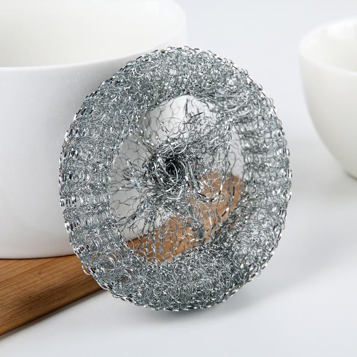 Губка для мытья посуды Доляна, металлическая, 12 гр.