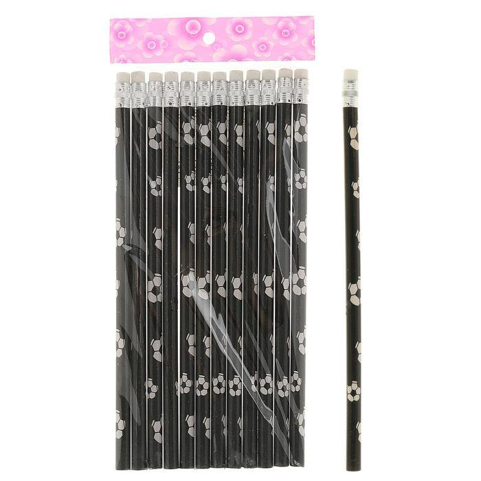 Карандаш чернографитный, с ластиком, HB, корпус круглый, «Мячи», МИКС