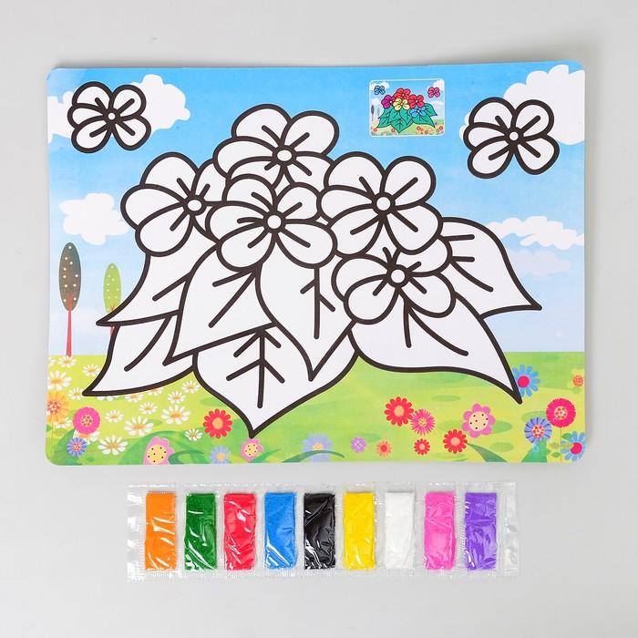 Фреска с цветным основанием «Цветочки» 9 цветов песка по 2 г