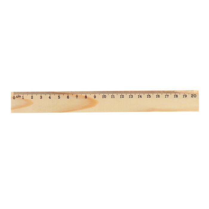 Линейка деревянная 20 см, Attomex, п/п, европодвес, в пластиковой упаковке, со штрихкодом