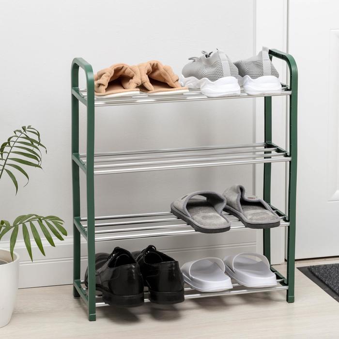 Полка для обуви Доляна, 4 яруса, 50?19?60 см, цвет зелёный
