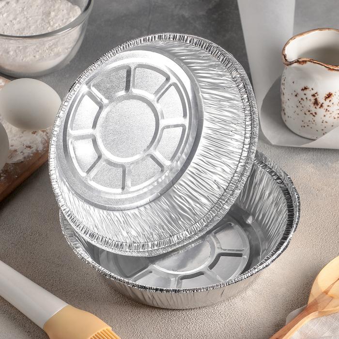 Набор форм для выпечки из фольги, 770 мл, 2 шт, цвет серебристый