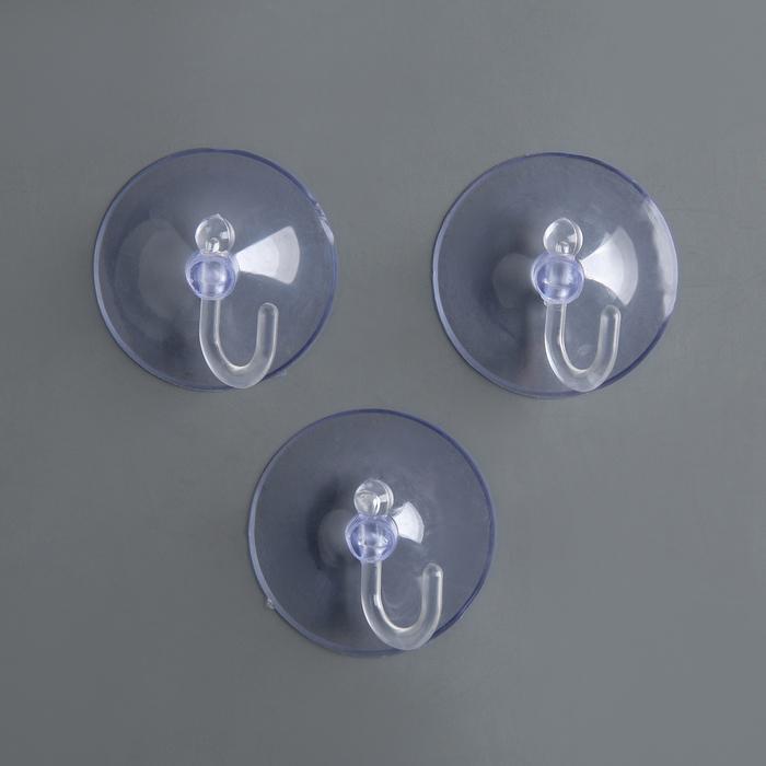 Крючок на вакуумной присоске «Круг», d=4,2 см, цвет прозрачный