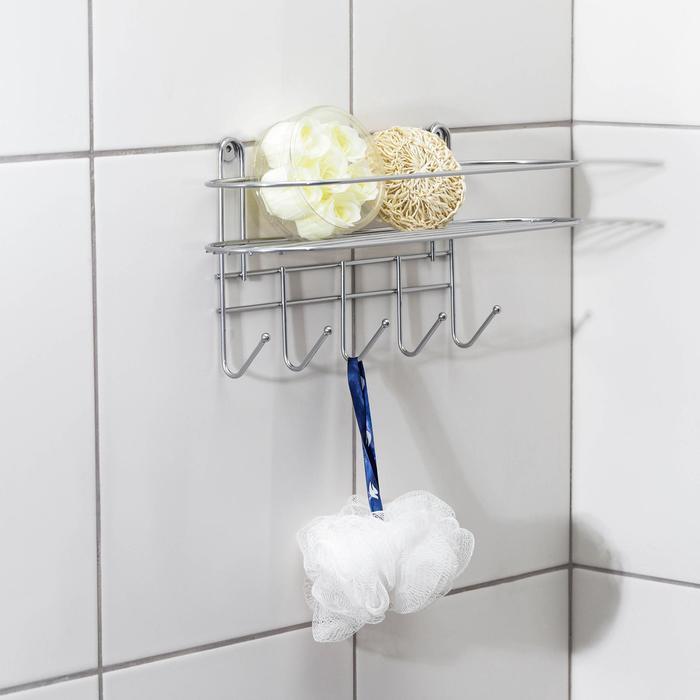Полка для ванной овальная, 5 крючков, 33?12,5?21 см, цвет хром