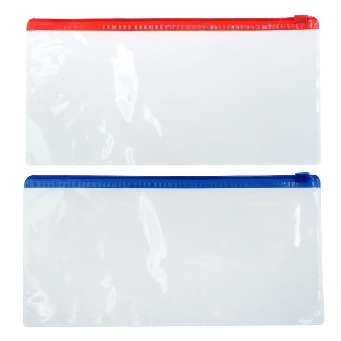 Папка-конверт на молнии, А65, прозрачная, 200 мкр