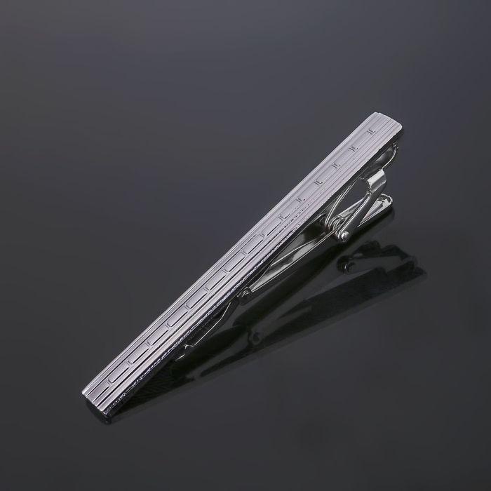 """Зажим для галстука стальной """"Классический"""" пунктир, цвет серебро"""