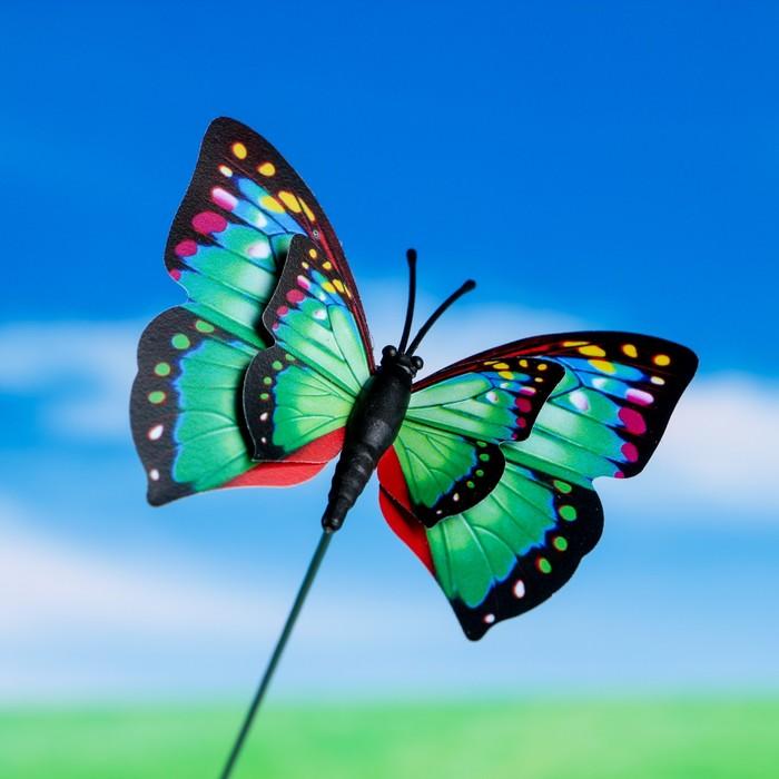 """Штекер декоративный для комнатных растений """"Бабочка"""" 6х7см, 25см, микс"""