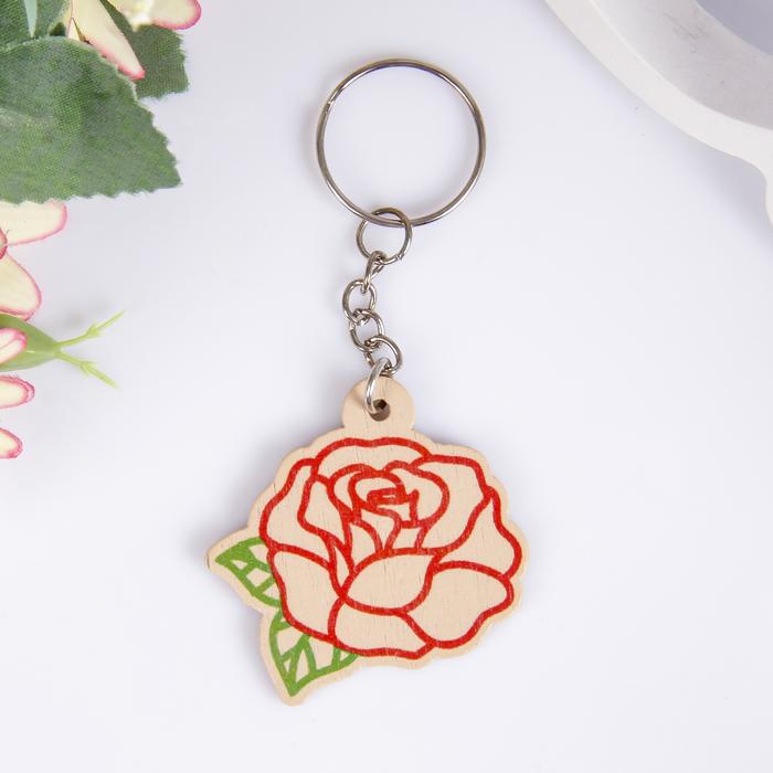 """Брелок дерево """"Роза"""" 4,5х4,4 см"""