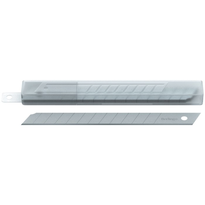 Лезвия для канцелярских ножей 9 мм, 10 штук в пластиковом пенале