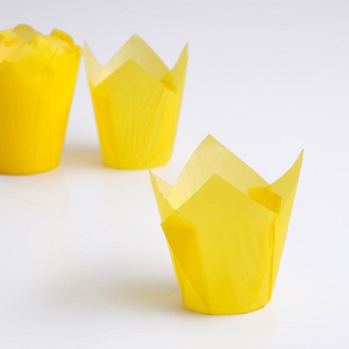 "Форма бумажная ""Тюльпан"", тёмно-жёлтый 5 х 8 см"