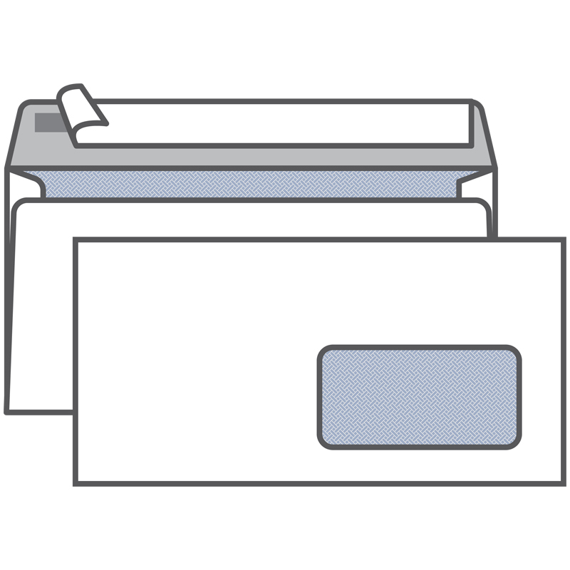 Конверт E65, KurtStrip, 110*220мм, б/подсказа, с прав.окном, отр. лента, внутр. запечатка