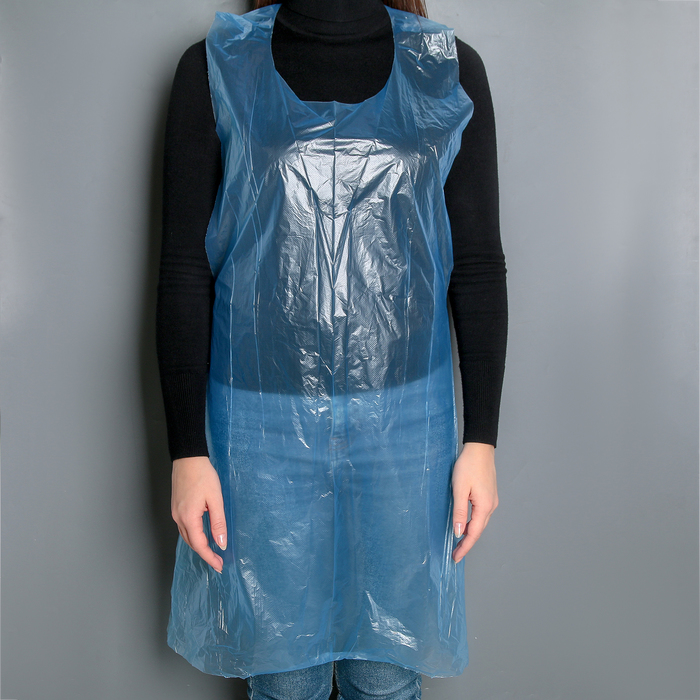 Фартуки полиэтиленовые, одноразовые, 75?110 см, 12 мкн, цвет синий