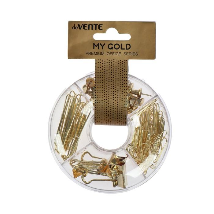 Канцелярский набор deVENTE My Gold, 4 предмета: скрепки 50 мм, скрепки 28 мм, зажим для бумаги, кнопки силовые