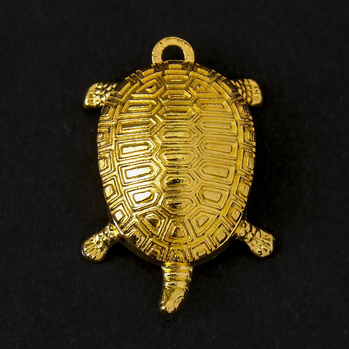 "Сувенир металл подвеска ""Золотая черепаха"" 3х1,9х0,8 см"