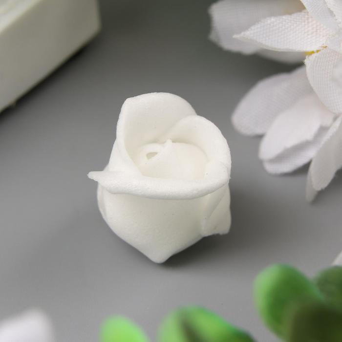 Розочка из фоамирана, белая d-1,5 см