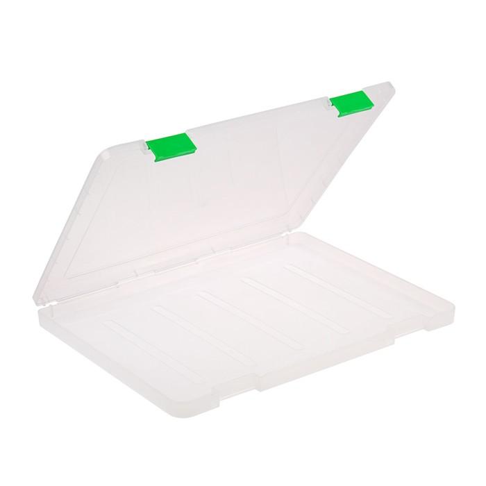Папка для документов А4, с зелеными защелками, 230 х 305 х 23 мм, прозрачный корпус