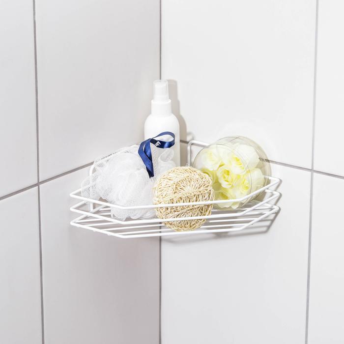 Полка для ванной угловая, 20,5?20,5?6,5 см, цвет белый