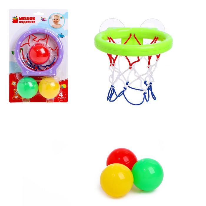 Баскетбол «Бросок», на присосках, с тремя мячиками, цвета МИКС