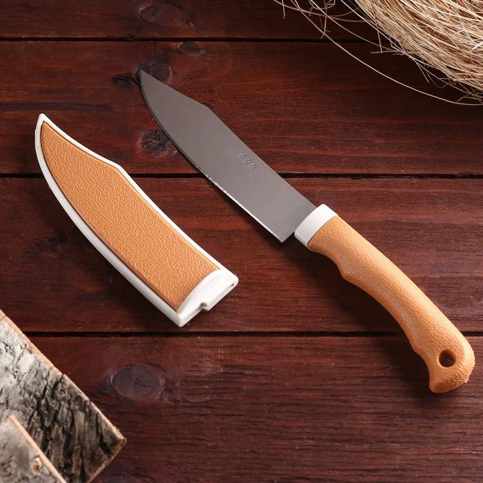Нож туристический, в ножнах, лезвие 12 см, рукоять под дерево