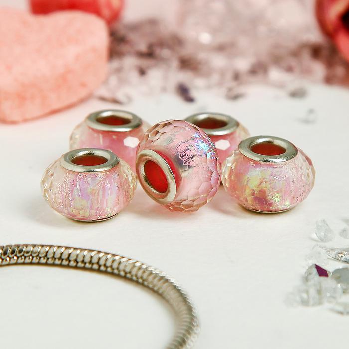 Бусина AB, цвет розовый