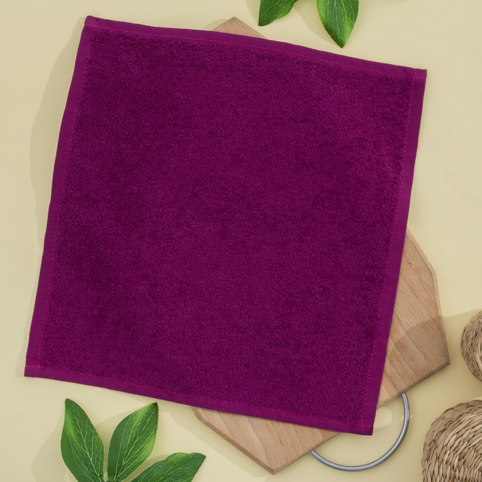 Салфетка махровая 30х30 см, фуксия, хлопок 100%, 380 гр/м2