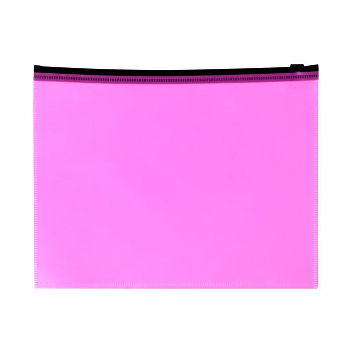Папка-конверт на молнии ZIP Calligrata, A5, 150 мкм, розовый неон