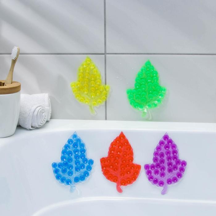 Мини-коврик для ванны «Кленовый лист», 9?13,5 см, цвет МИКС