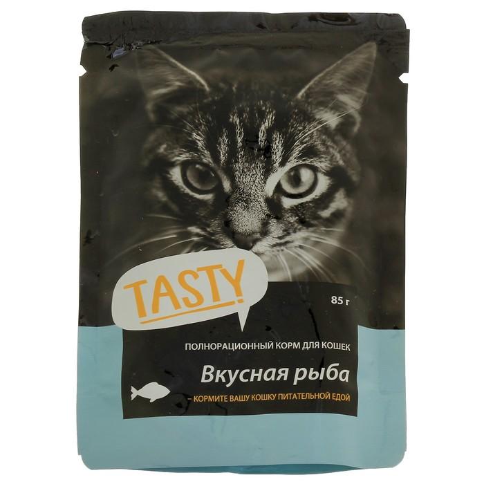 Влажный корм Tasty для кошек, рыба в желе, пауч, 85 г