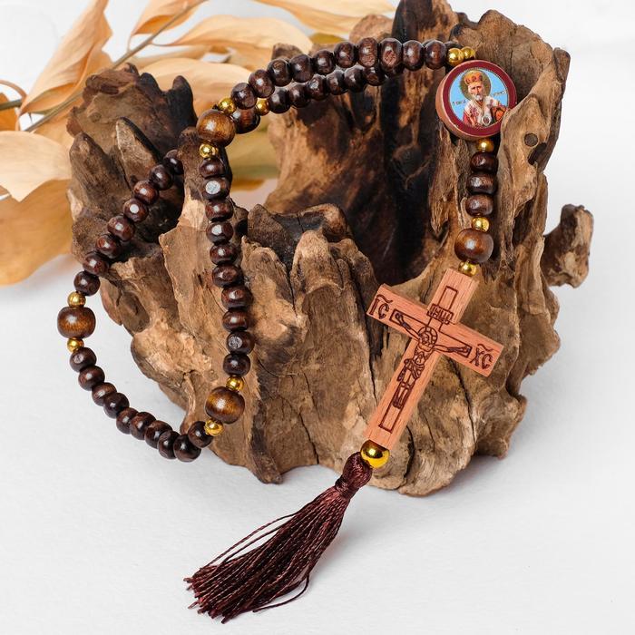 """Чётки деревянные """"Православные"""" с крестиком и иконой, кисть, 57 бусин, цвет бежево-сливовый"""