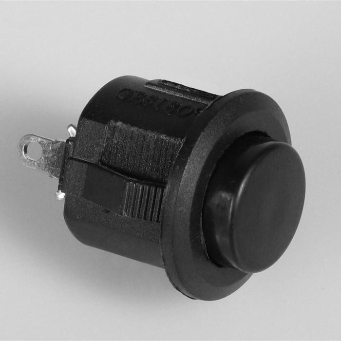 Выключатель кнопочный без подсветки, без фиксации, черный