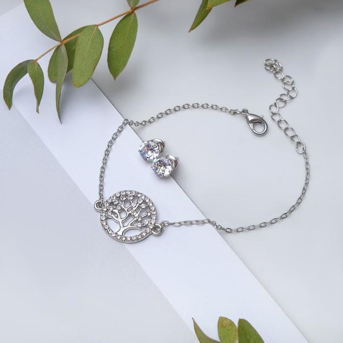 """Набор 2 предмета: браслет, пуссеты """"Модерн"""" дерево, цвет белый в серебре"""