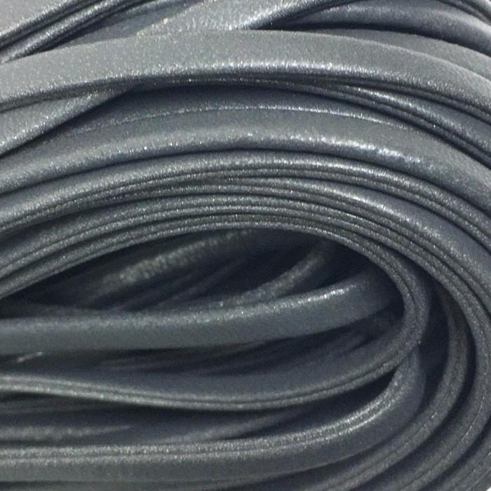 Шнур декоративный, кожзам, 5 мм, цвет серый