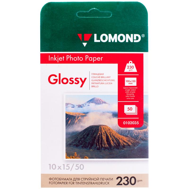 Фотобумага A6 (100*150) для стр. принтеров Lomond, 230г/м2 (50л) гл.одн.