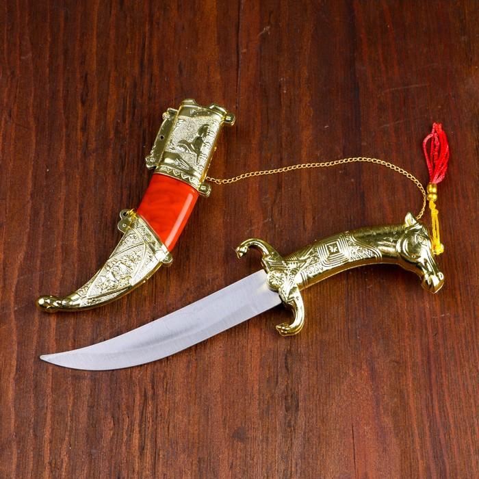 Сув. изделие нож, ножны серебро с красным, клинок 22 см