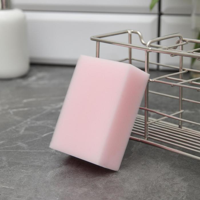 Губка меламиновая для удаления пятен Доляна «Розовая», 9?6?3 см