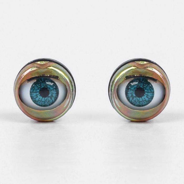 Глаза моргающие с ресничками, полупрозрачные, набор 2 шт, цвет зелёный, размер 1 шт: 1,7 см