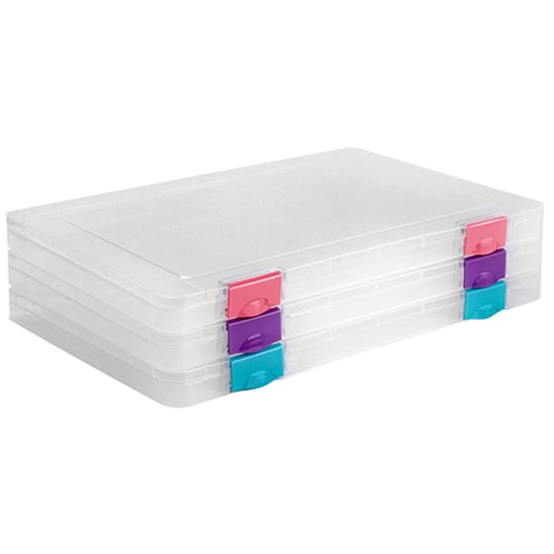 Папка для документов Стамм, А4 230*305*23мм, пластик., прозрачная, защелки ассорти Studio