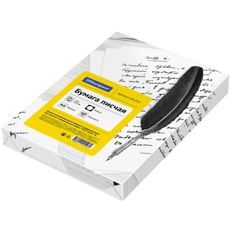 Бумага писчая OfficeSpace, А4 250л. белизна 92%, 60г/м2
