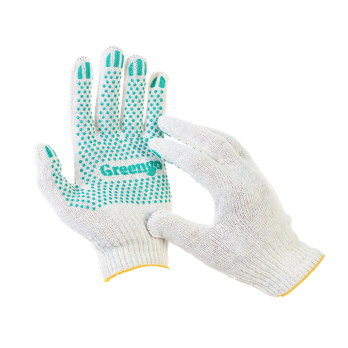 Перчатки, х/б, вязка 10 класс, 4 нити, размер 9, с ПВХ точками, белые, Greengo