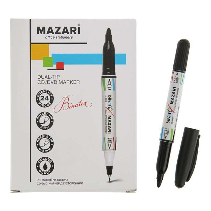 Mаркер Mazari Binatex для CD/DVD, 2.0 мм, чёрный, двусторонний