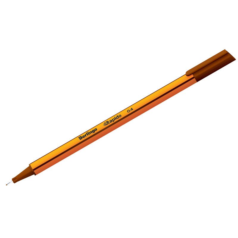 """Ручка капиллярная Berlingo """"Rapido"""" коричневая, 0,4мм, трехгранная"""
