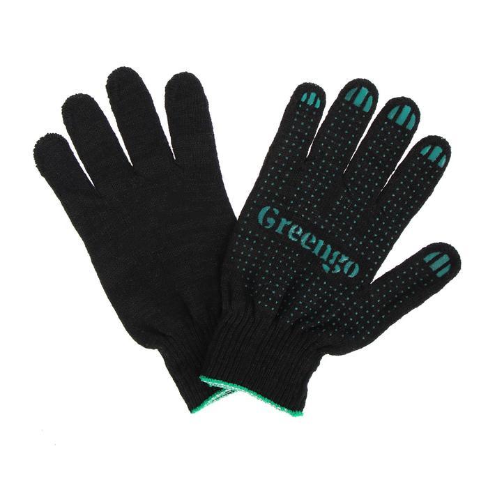 Перчатки, х/б, вязка 10 класс, 4 нити, размер 9, с ПВХ точками, чёрные