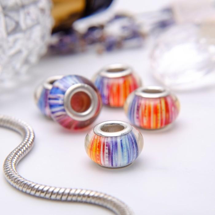 """Бусина """"Штрихи"""", разноцветная в серебре"""