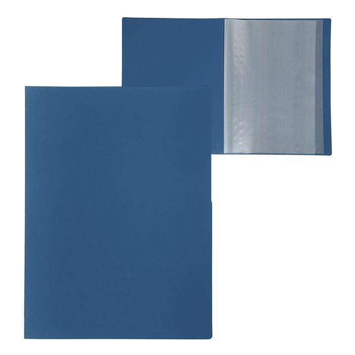Папка A4, 10 прозрачных вкладышей, 500 мкм, Calligrata, песок, синяя