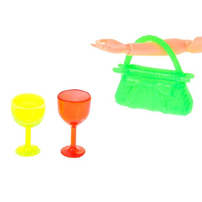 Аксессуары для кукол: сумочка, 2 бокала, МИКС