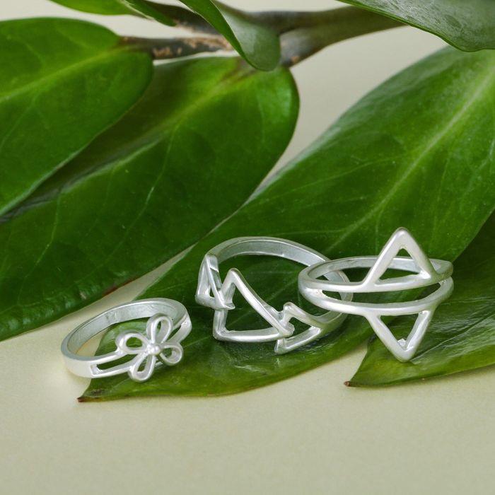 """Кольцо """"Ассорти"""" треугольники, размер 14,17,18 МИКС, цвет матовое серебро"""