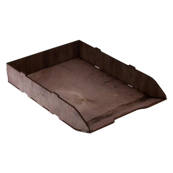 Лоток для бумаг горизонтальный, 320 х 225 х 55 см, деревянный (береза), цвет эбонитовое дерево