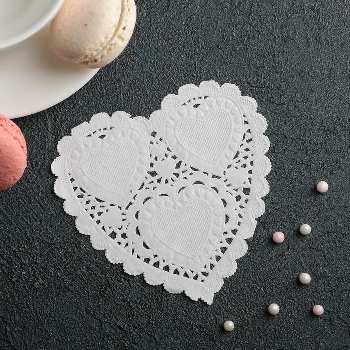 """Салфетка для торта и десерта 10?10 см """"Ажурное сердце"""", цвет белый"""